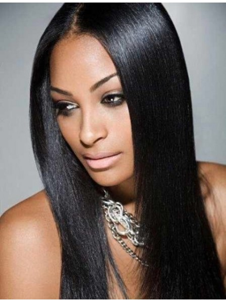 African American Long Straight Silky Black Lace Front Wig