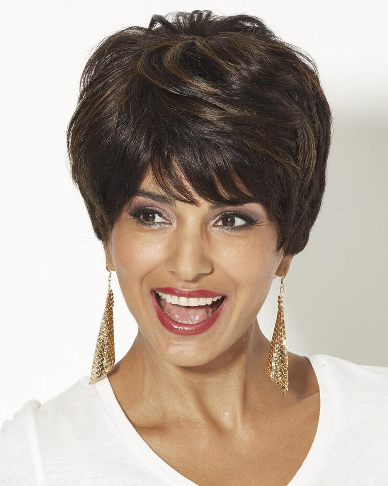 Human Hair Pixie Wigs With Short Wavy Layers And A Tapered ...