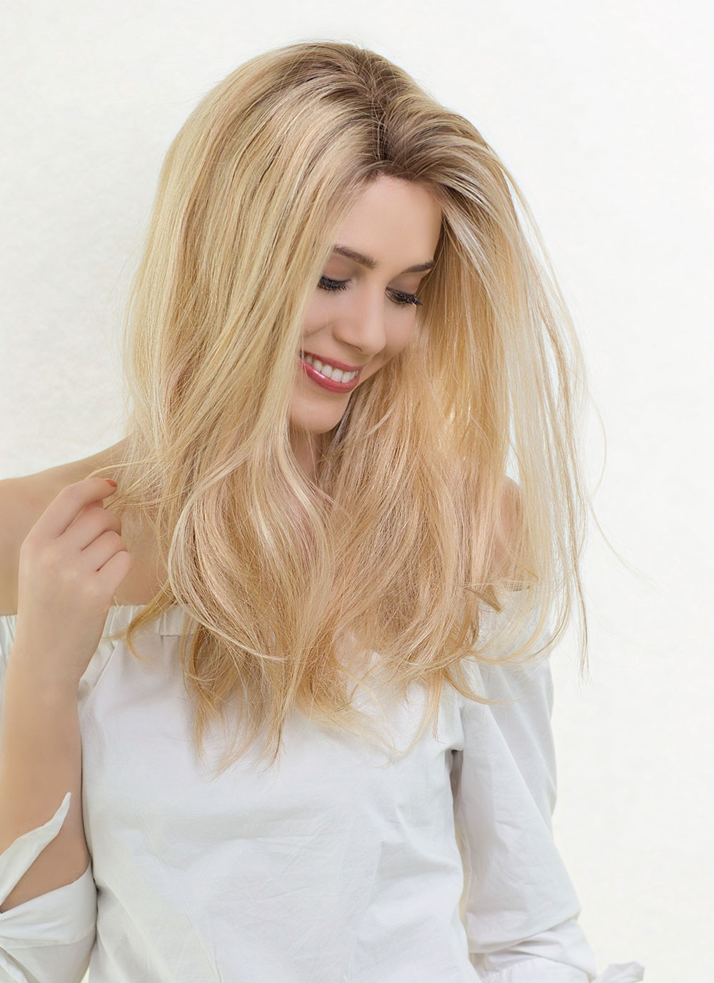 Long Natural Looking Real Human Hair Blonde Wigs