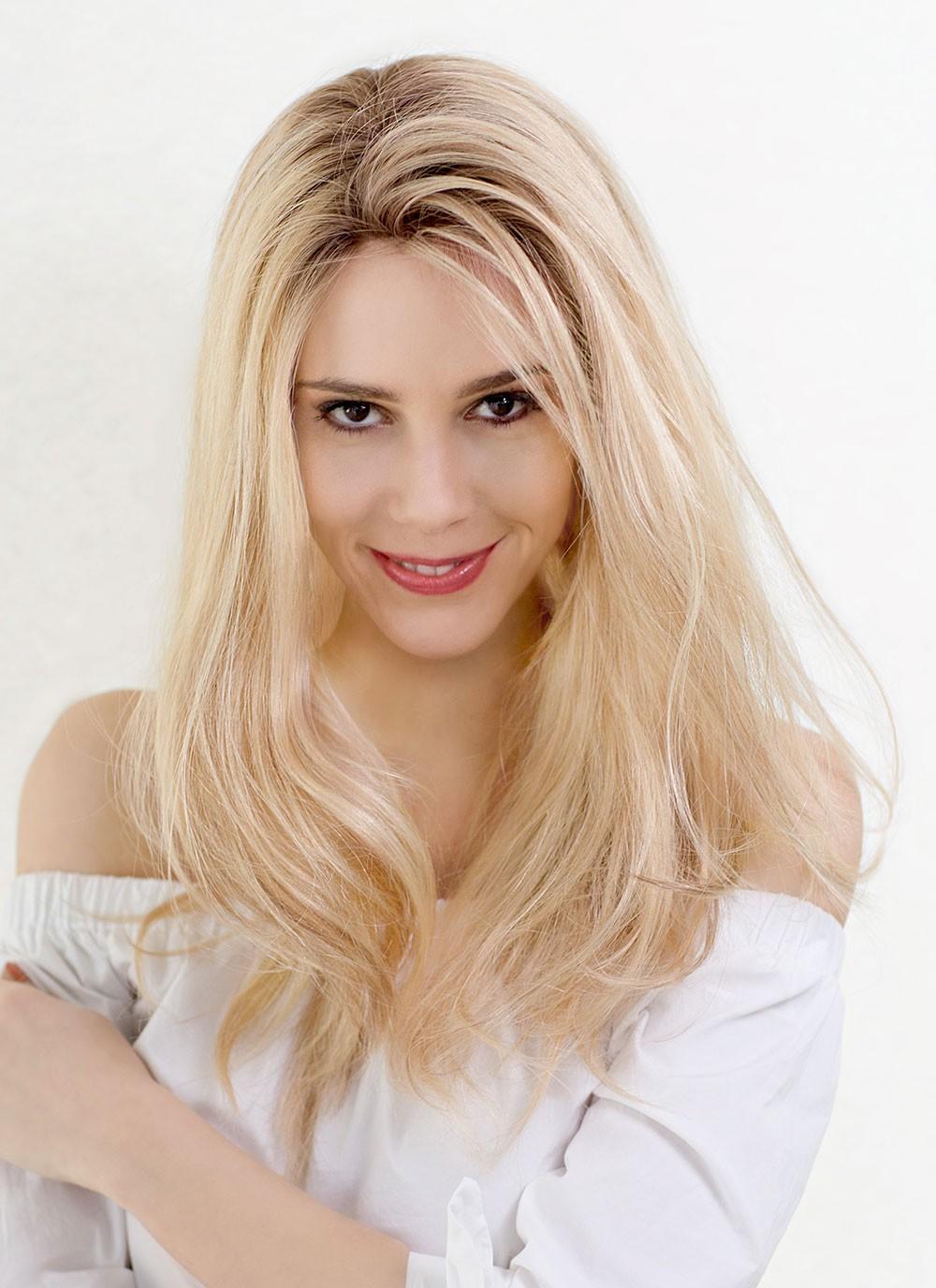 Long Natural Looking Real Human Hair Blonde Wigs