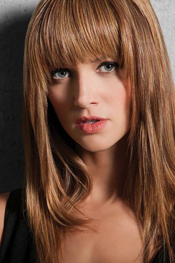 Long Straight 100 Remy Human Hair Wigs With Full Bangs
