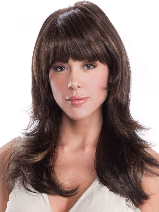 dark brown long synthetic layered straight hiar wigs