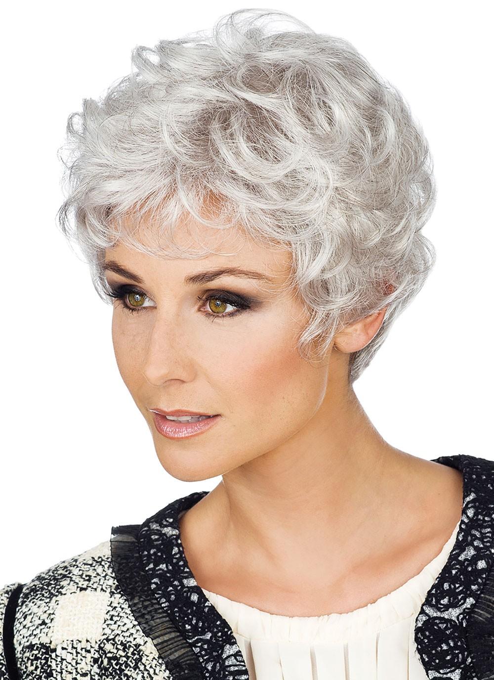 Full Lace Short Boy Cut Ladies Grey Wigs