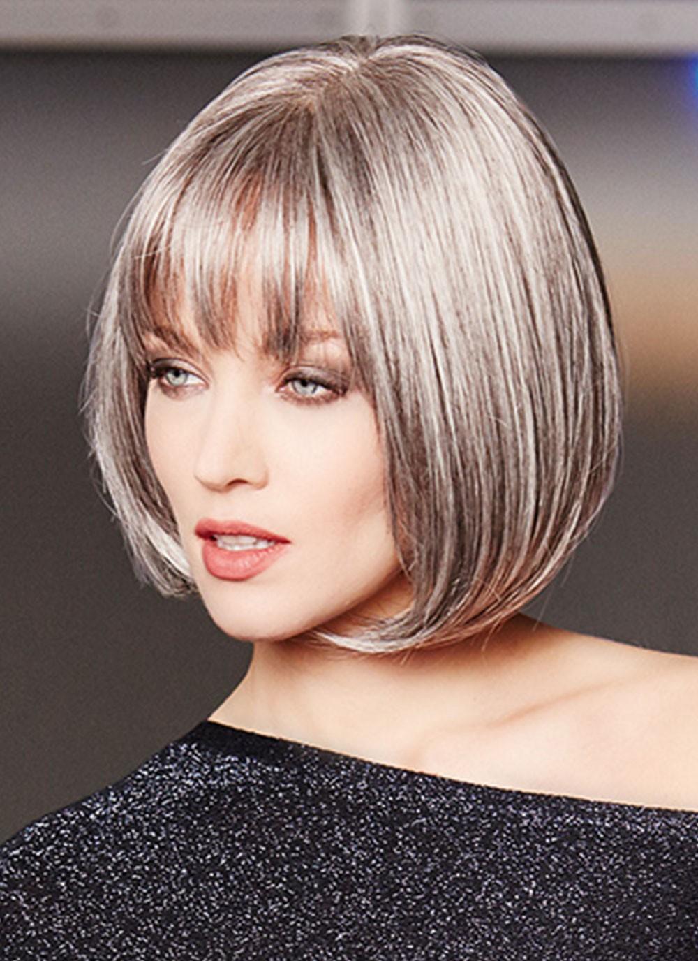 Lace Front Mono Top Sleek Grey Bob Wigs