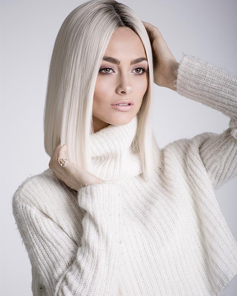 Lace Front Mono Top White Straight Bob Wigs Without Bangs