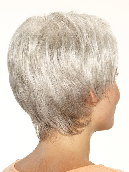 Natural White Color Older Ladies Short Wigs