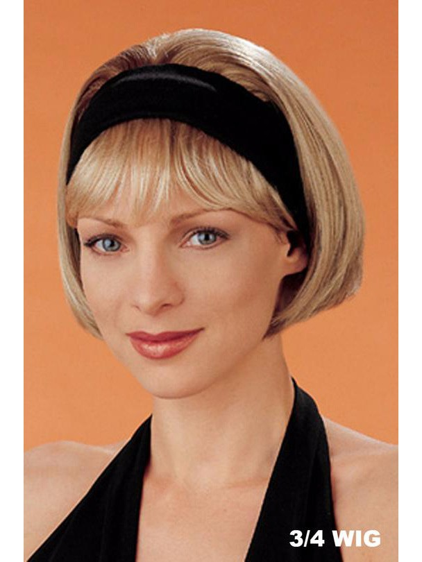 3 4 Wig With 2 5 Inch Permanently Attached Black Headband