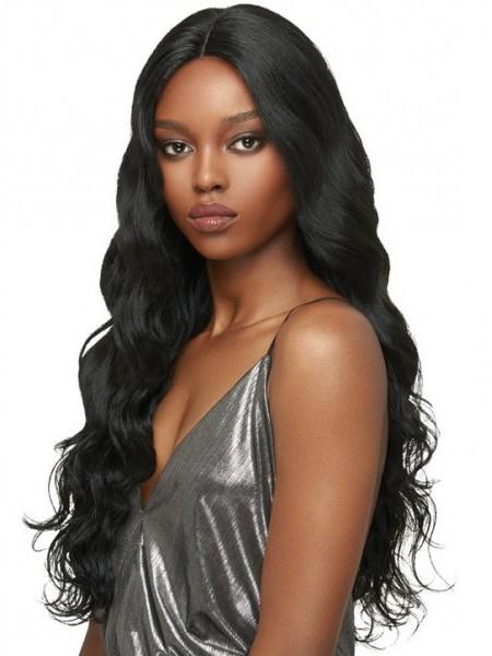Beautiful black women's water wavy hair long human hair wigs