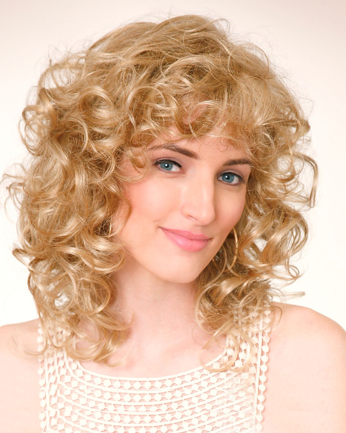 Blonde Lace Front Monofilament Synthetic Curly Wigs