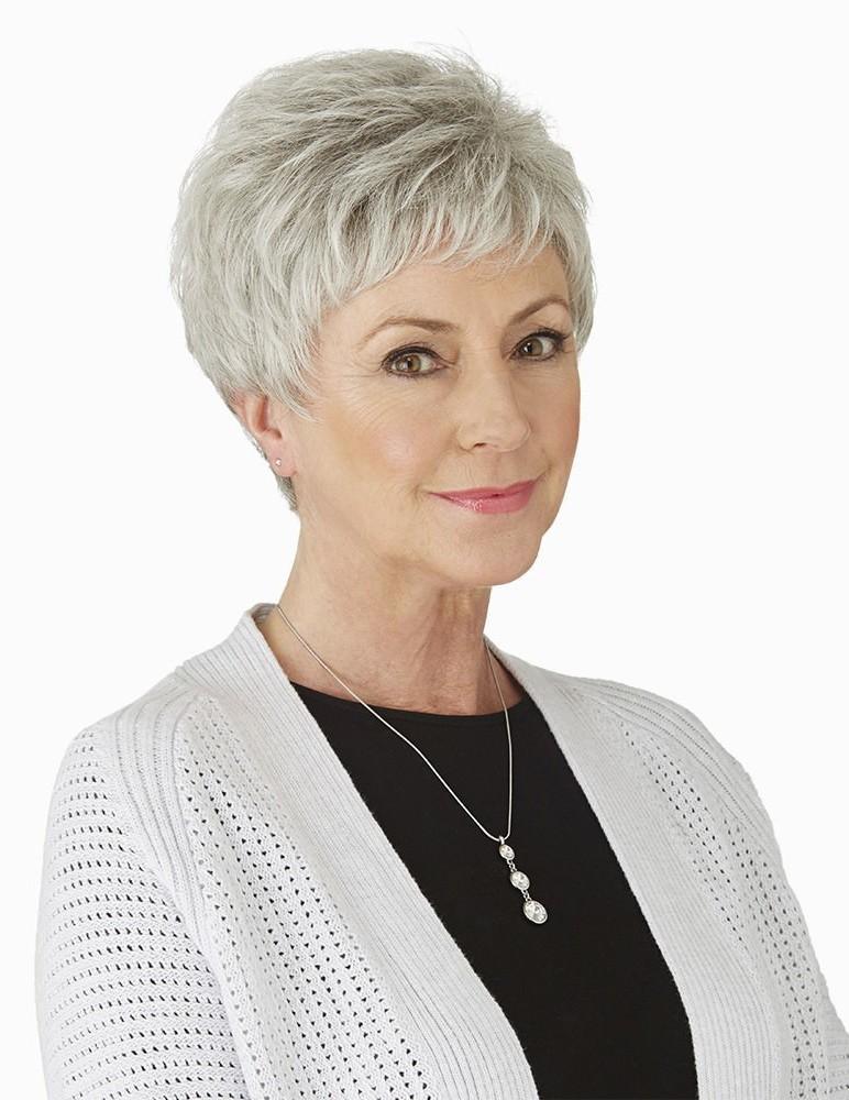 Cute Short Pixie Grey Hair Wig For Older Ladies - Rewigs.co.uk