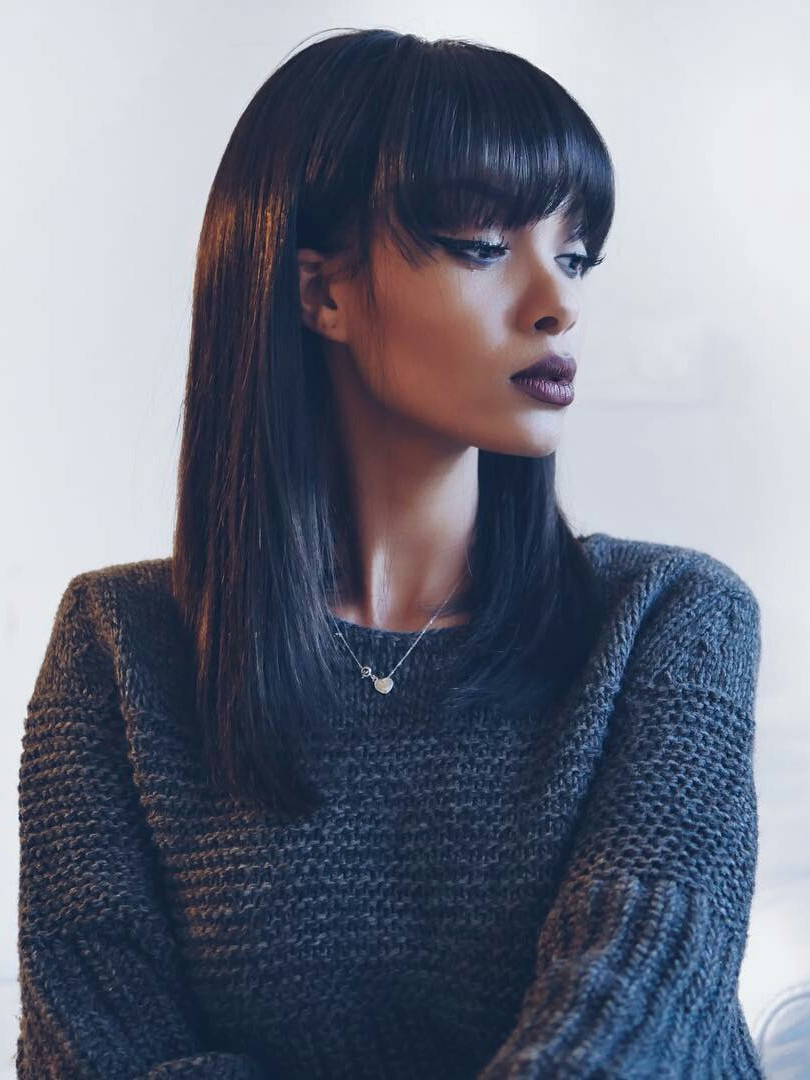 Cute Straight bob hairstyle black human hair wigs with full bangs