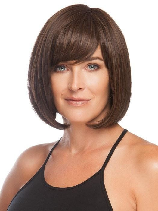 Dark Brown Chin Length Blunt Cut Bob Wigs