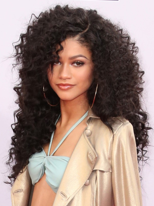 Fluffy Long Curly afro shag Hairstyle synthetic hair wigs