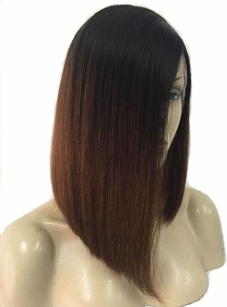 Kim Inspired Lob Brown Ombre Human Hair Full Lace Wig