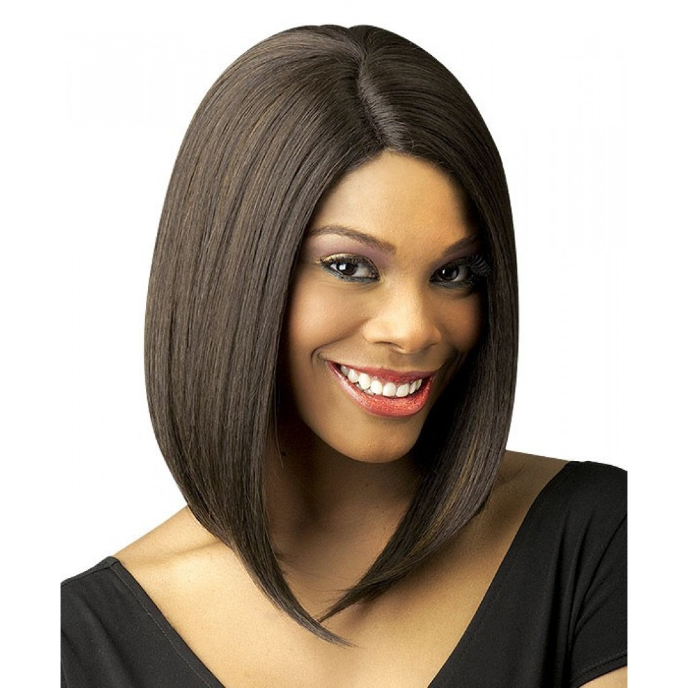 Lace Front Black Layered Chin Length Bob Style Wig