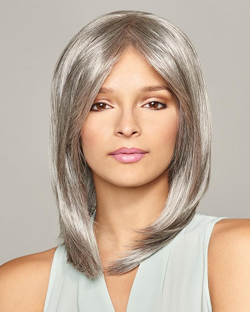 Lace Front Mono Top Grey Bob Wigs
