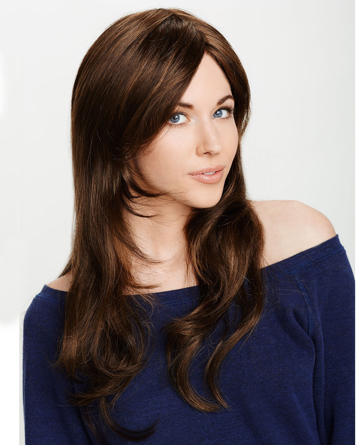 long layered brown synthetic hair wigs