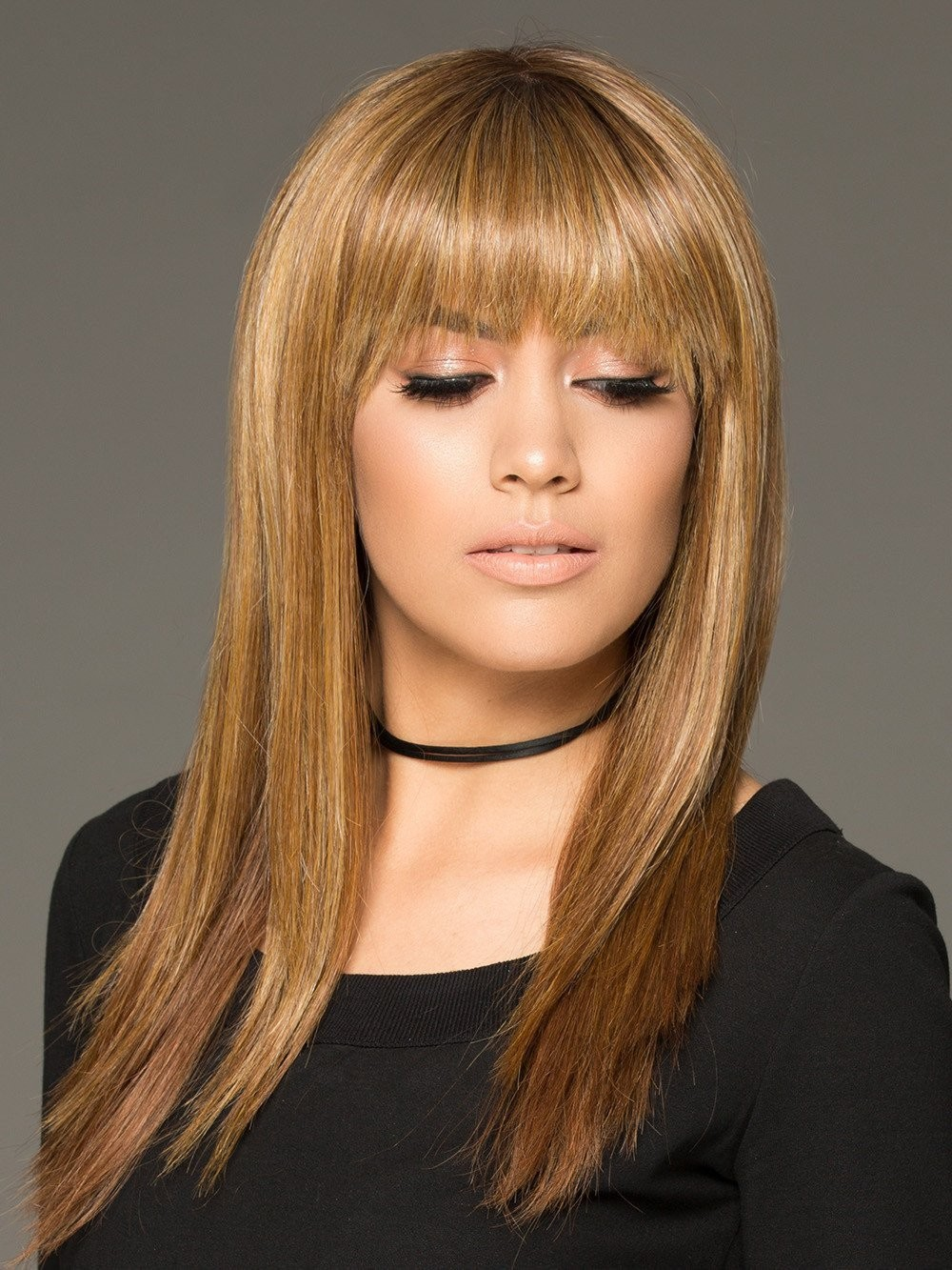 Long Straight Human Hair Blonde Wigs Modern Hairstyle with A Blunt Bang