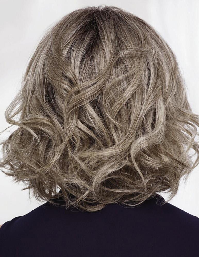 Mid Length Wavy Bob Lace Front Grey Hair Wig Rewigs Co Uk