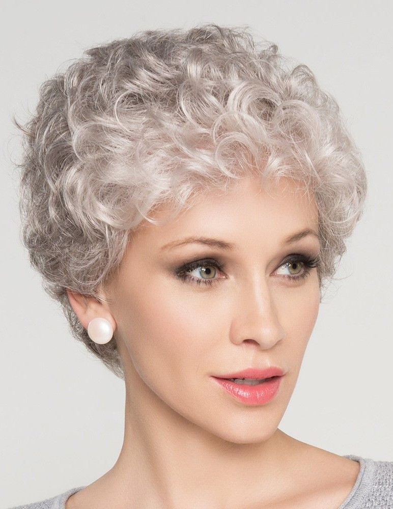 Natural Short Curly Grey Hair Wig For Older Women - Rewigs ...