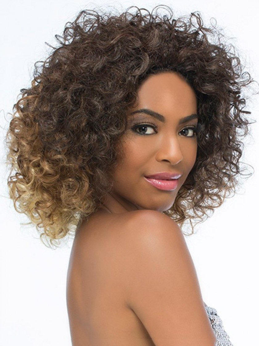 Natural Synthetic Curly Bob Hair Half Wig Rewigs