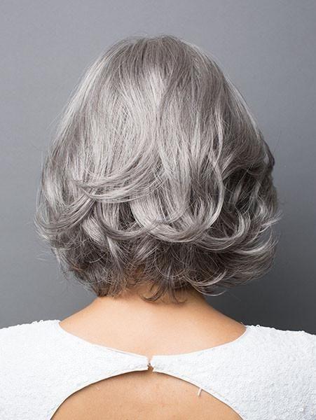 Natural Wavy Bob Style Grey Hair Wig For Women
