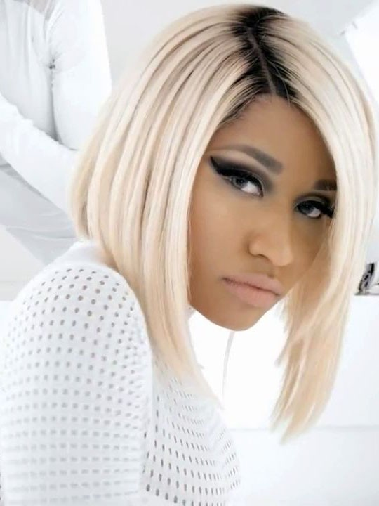 Nicki Minaj Blonde Bob Hair Wig With Black Roots Rewigs