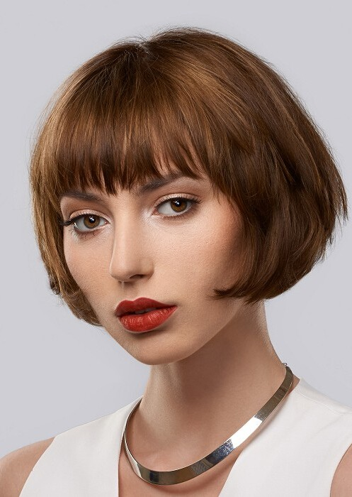 Short Bob Wavy Hair Wigs With Bangs