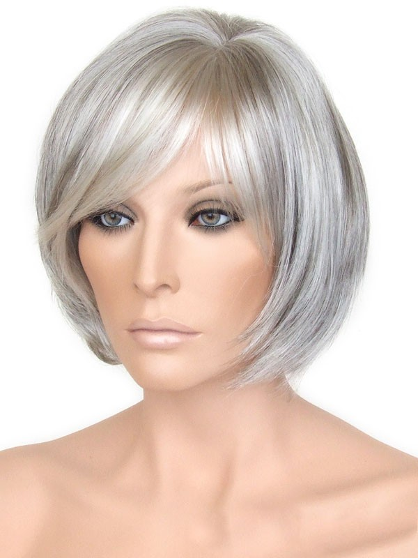 Capless Grey Short Bob Straight Synthetic Hair Wigs