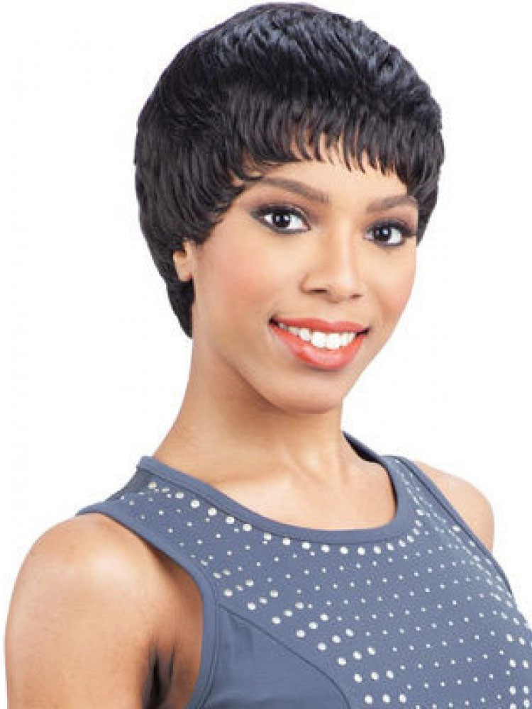 Perfectly short pixie black hairstyle human hair wigs