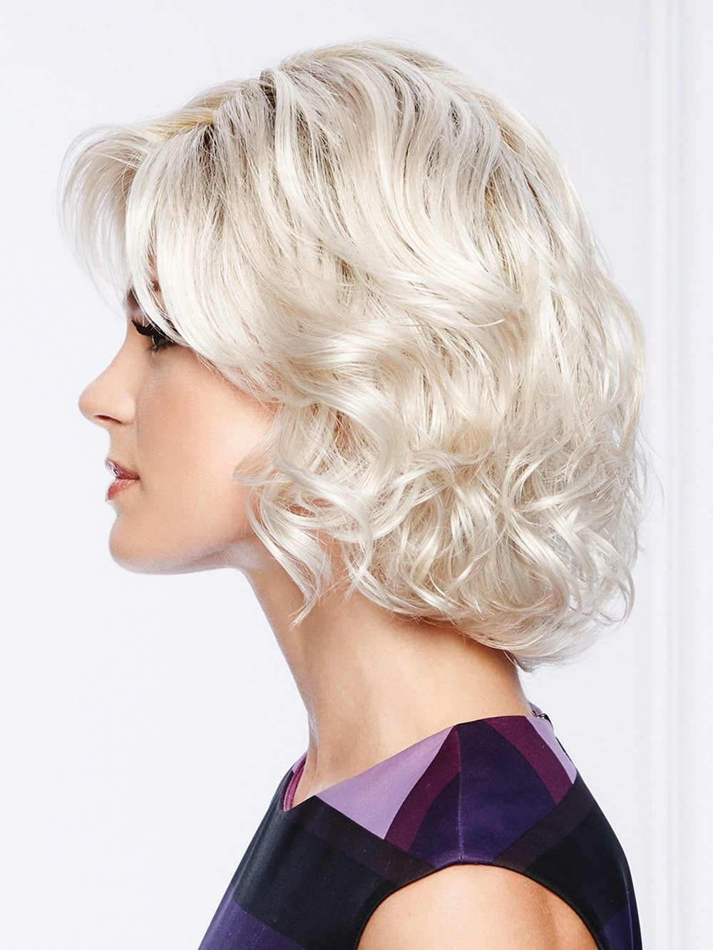 Platinum Blonde Synthetic Lace Front Bob Wavy Wigs
