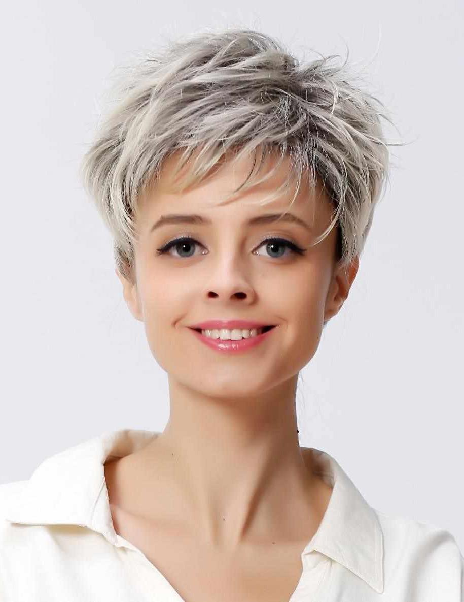 Short Straight Ladies Grey Hair Wig With Pixie Cut Rewigs