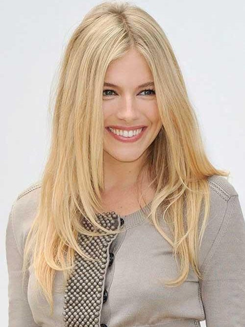 Sienna Miller Long Layered Lace Front Blonde Hair Wig Rewigs