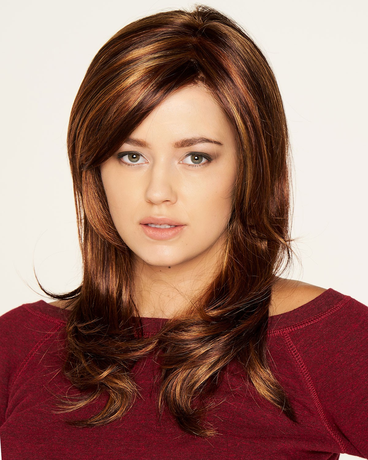 synthetic long layered brown hair wigs