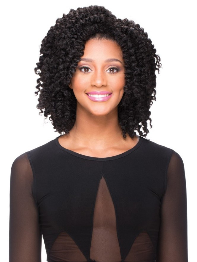 Synthetic Thick Curl Capless Medium Hair Afro Wigs For