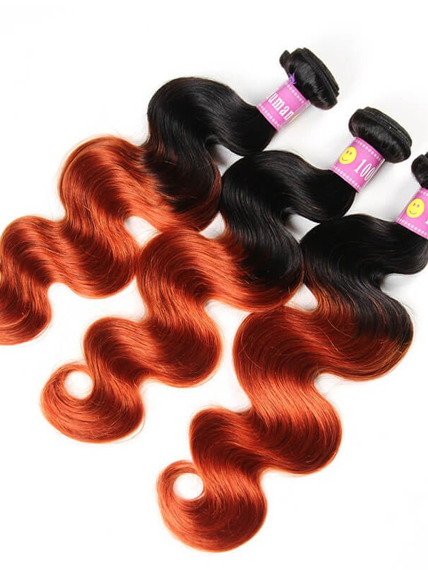 Top Quality 1b 350 Color Body Wave Brazilian Ombre Hair Weave