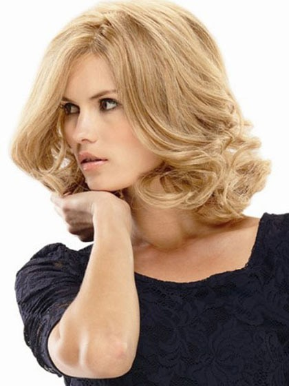 Lace Front Human Hair Blonde Wavy Monofilament Wigs