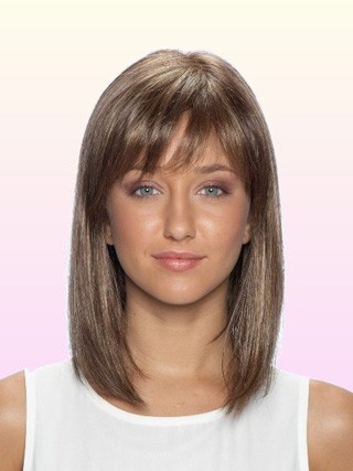 Shoulder Length Straight Lace Front Human Hair Wigs With Bangs