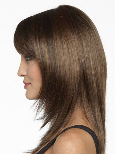 Shoulder Length Straight Human Hair Wigs With Bangs