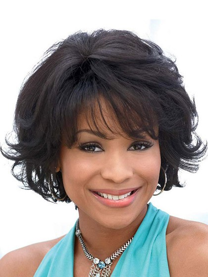 lace front short wavy hair wigs with bangs