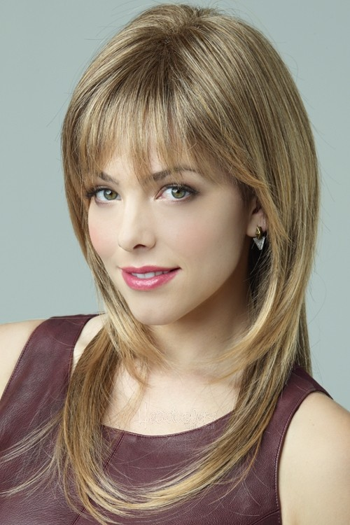 Long Straight Synthetic Layered Wigs With Bangs