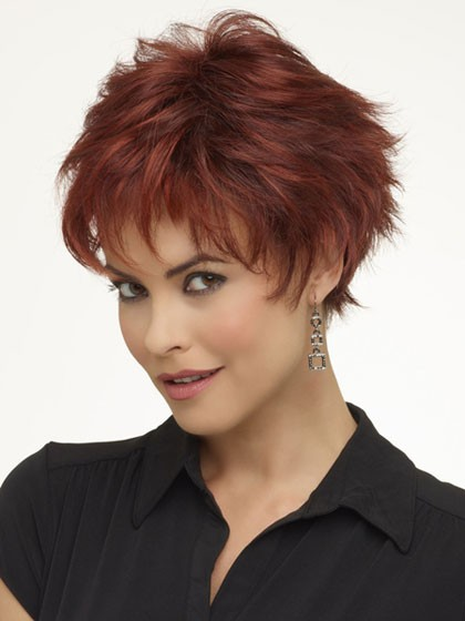 layered lace front short wavy hair wigs with bangs