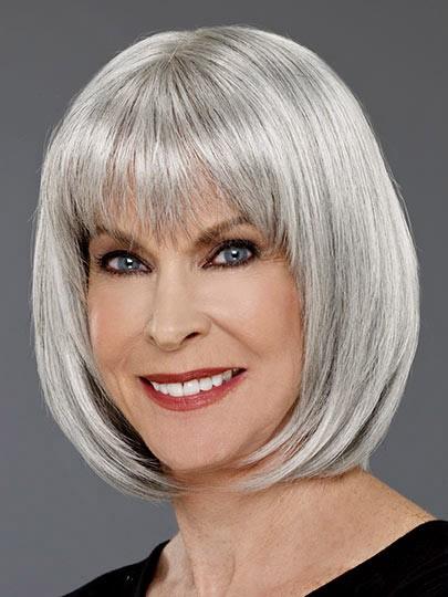 Grey Bob Straight Hair Wigs For Women