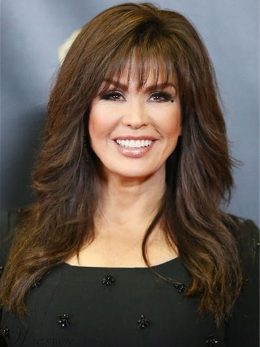 Young Marie Osmond Long Brown Synthetic Hair Wig - Rewigs.co.uk